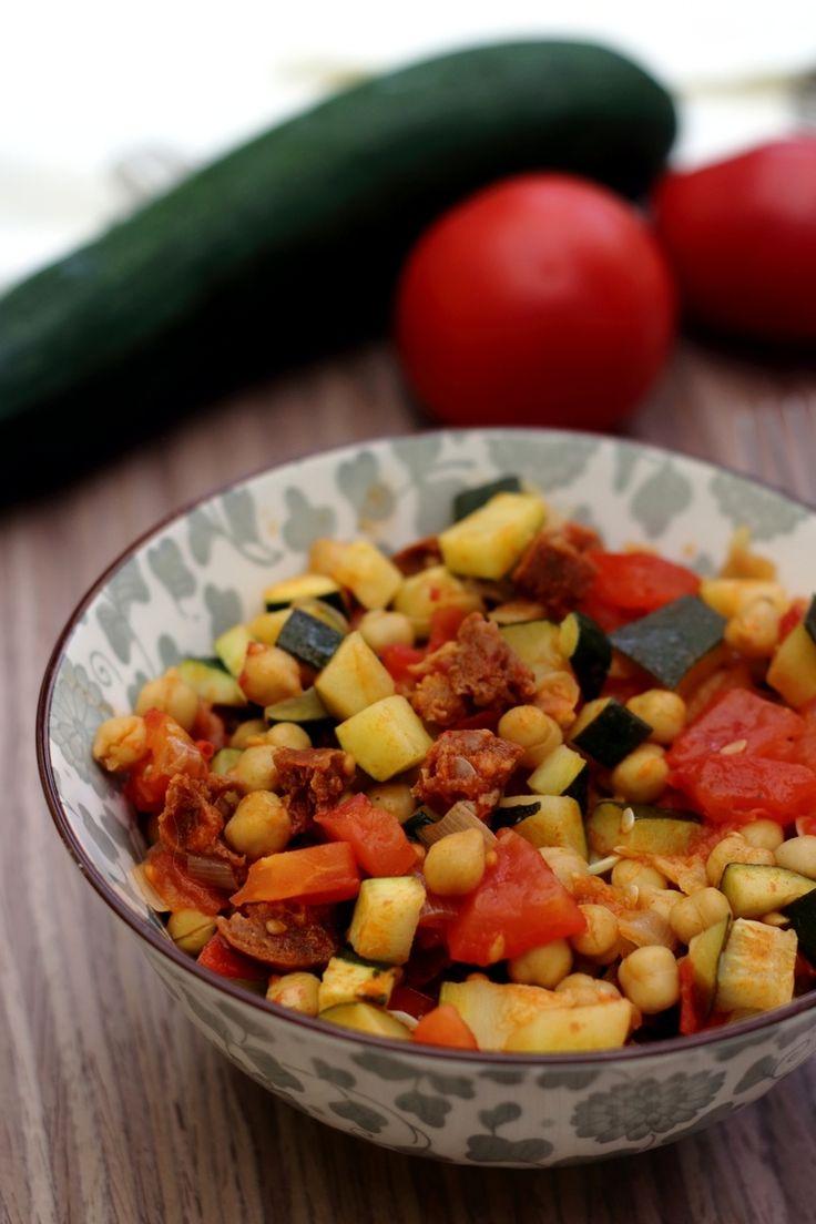 Poêlée de courgette, tomates et pois chiches au chorizo - 4SP Weight Watchers