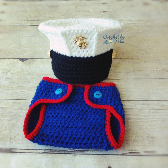 Crochet Marine Corps Blues Cover And Diaper Cover By