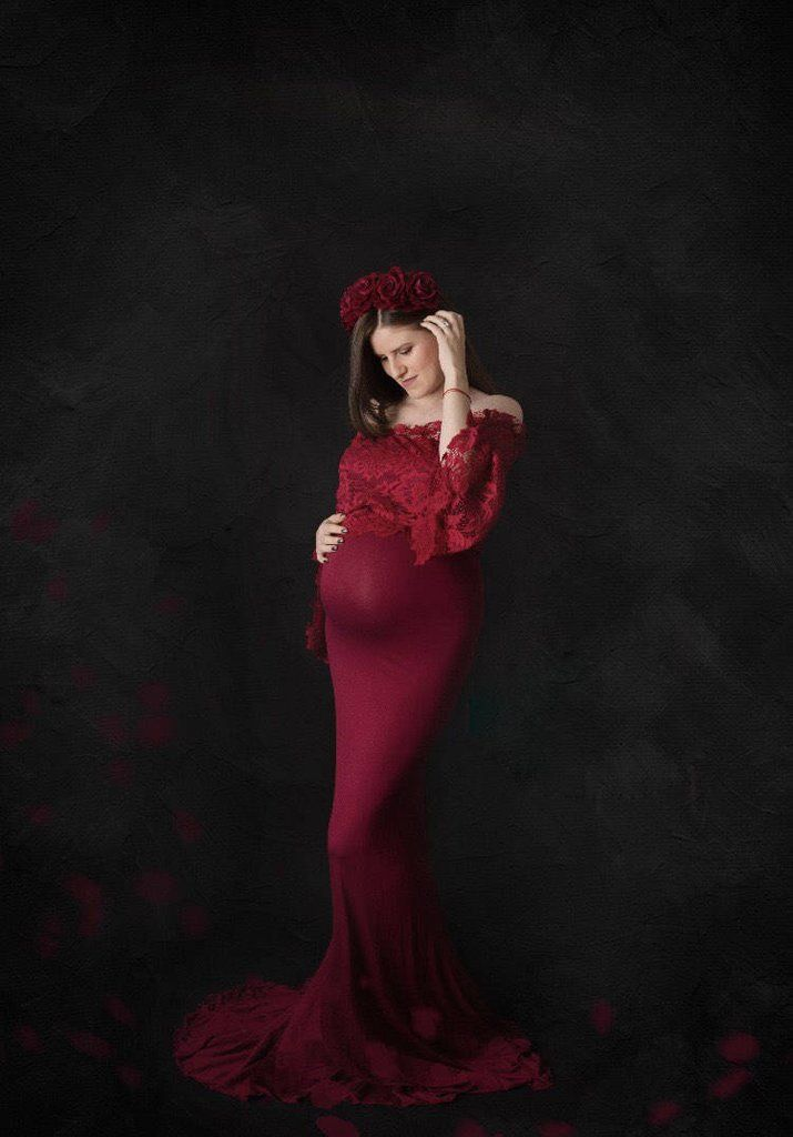 1bc5f86fb9 Baby Shower Dresses · Pregnant Women Long Bell Sleeves Lace Stitching Gown  Dress Red Maternity Dress