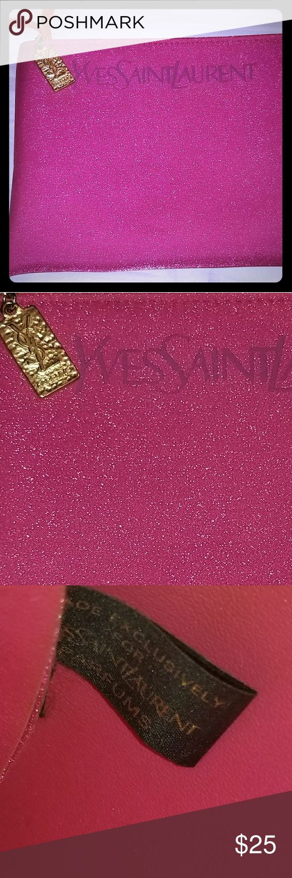 NEW-YVES SAINT LAURENT-PINK SPARKLY BAG W/CHARM!💟 NEW-YVES SAINT LAURENT PERFUMES-PINK SPARKLY BAG W/CHARM!💟 BRAND NEW. NEVER USED. NO STAINS, TEARS OR ODORS! SMOKE/PET FREE HOME! BUNDLE & SAVE! Yves Saint Laurent Bags Cosmetic Bags & Cases