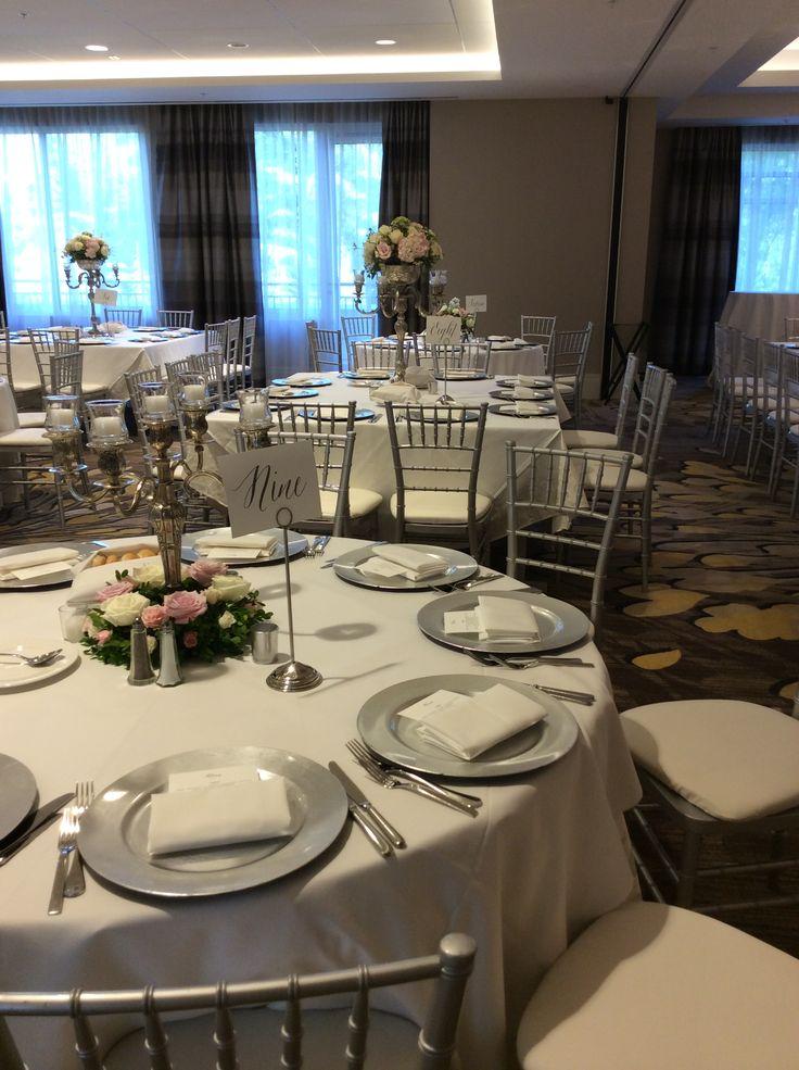 silver and white elegance formal reception silver charger plates hyatt regency atlanta perimeter