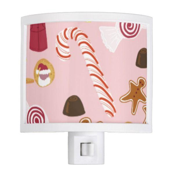 Candy Canes and Chocolates on Pink Night Light #Custom #Christmas #Holiday #Night #Lights