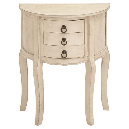 Showcasing a scalloped apron and cabriole legs, this demilune wood nightstand features 3 drawers and makes the perfect addition to your bedroom.