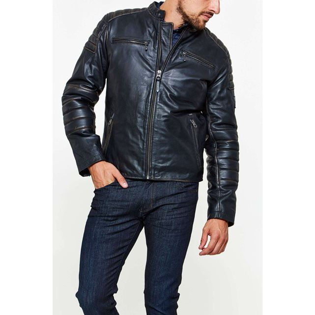 Blouson cuir noir Pepe Jeans pas cher prix promo Blouson Homme La Redoute 196.00 € TTC au lieu de 280 €