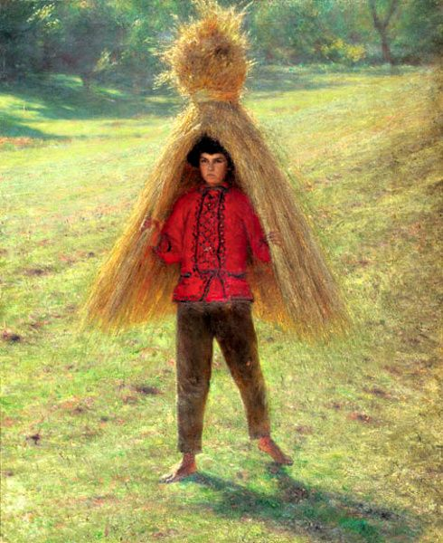 Aleksander Gierymski (1850-1901): Boy Carrying A Sheaf