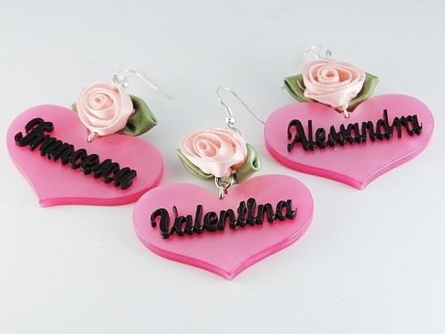 Plexiglass earring with your name.  personalized earring, Sweet Papillon by Veronica Cattaneo $27
