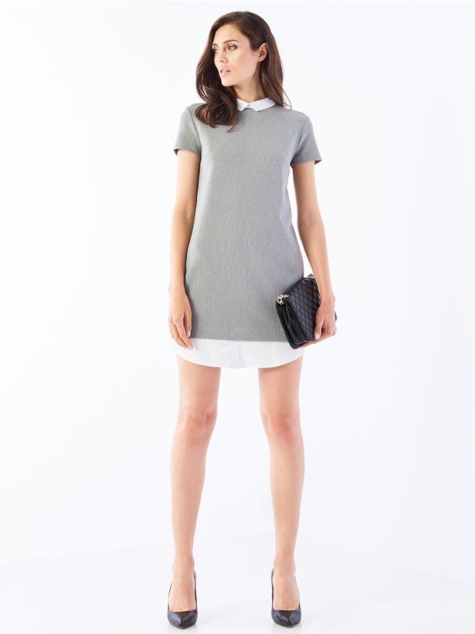 Элегантное платье с элементами рубашки, MOHITO