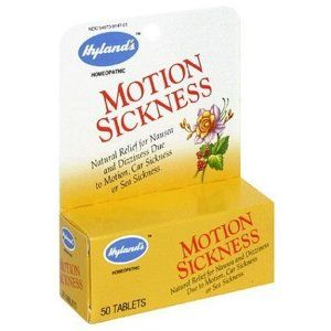 Hylands Homeopathic, Motion Sickness, 50 Tab by Hyland's Homeopathic. Save 42 Off!. $5.07. Serving Size:. 50 Tablets. Natural relief for nausea and dizziness due to motion, car sickness or sea sickness. Hyland's Motion Sickness is a traditional homeopathic formula for the relief of symptoms of nausea and dizziness associated with or aggravated by motion. Working without contraindications or side effects. Hyland's Motion Sickness is safe for adults and children and can be used in conjunc...