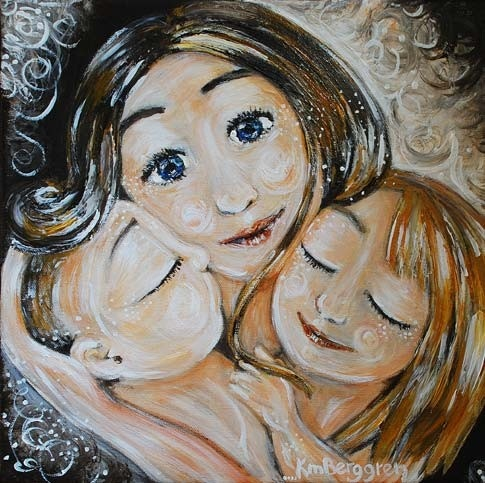 mother and child siblings daughter son blonde A by kmberggren, $29.00