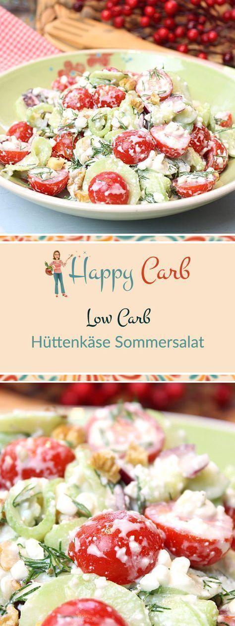 Ein perfektes Essen an einem heißen Sommerabend. Low Carb Rezepte von Happy Carb. https://happycarb.de/rezepte/salate/huettenkaese-sommersalat/