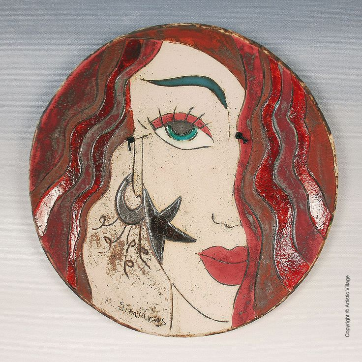 Unique handmade and hand-painted (Plate) for the wall. Always carrying the maker's signature.