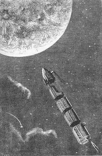"""Illustration from the novel """"From the Earth to the Moon"""" by Jules Verne drawn by Henri de Montaut, 1868."""