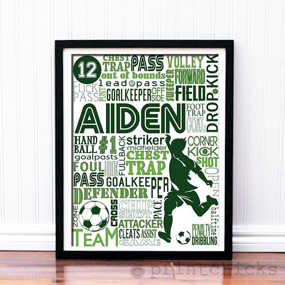 NEW, UPDATED Soccer Typography Print!  It is a great gift for any soccer lover.  Personalize it with name, color and number!  Great gift for a coach, team, or YOU :)  www.printchicks.net