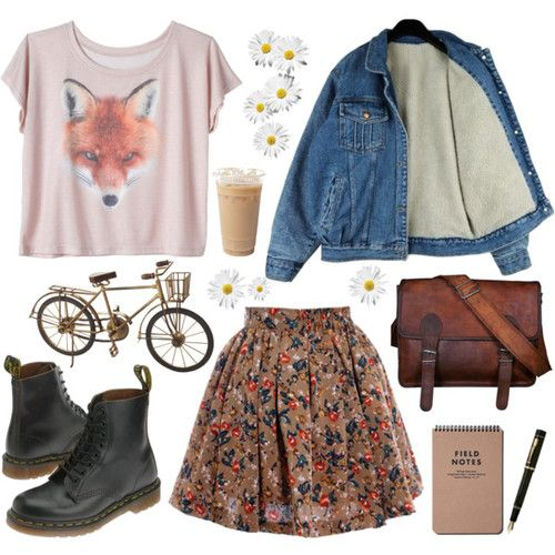 """Reminds me of my high school self. Fox blouse with a floral skirt.(="""
