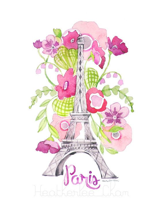 Eiffel Tower Watercolor - Paris - Flowers - Nursery - Painting Print