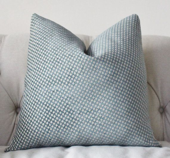 Country Blue Throw Pillows : Decorative Pillow Cover - Country Blue Geometric Designer Pillow - French Blue Throw Pillow ...