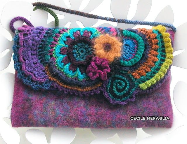 #Freeform #Crochet #Bag. Seems to be on felted material. Such a pretty technique!