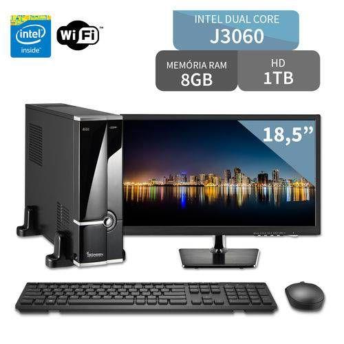 Foto 1 - Computador 3green Intel Slim Dual Core J3060 4GB 1TB com Monitor LED 18.5 Wifi Mouse Teclado HDMI