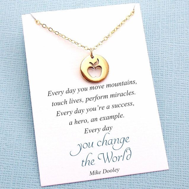 Teacher Gifts   Apple Charm Necklace   Teacher Mentor Appreciation Gift   Apple Pendant Necklace   Silver or Gold   T03 by SusiDjewelry on Etsy https://www.etsy.com/listing/252912730/teacher-gifts-apple-charm-necklace