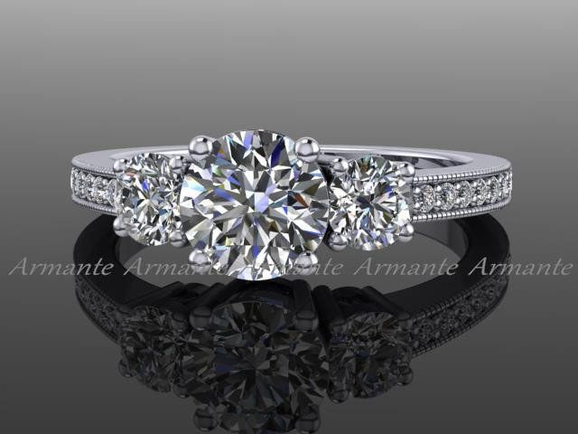 Vintage Style Engagement Ring Diamond And Moissanite 14k White Gold Three Stone Engagement Ring, Wedding Ring. Re00022