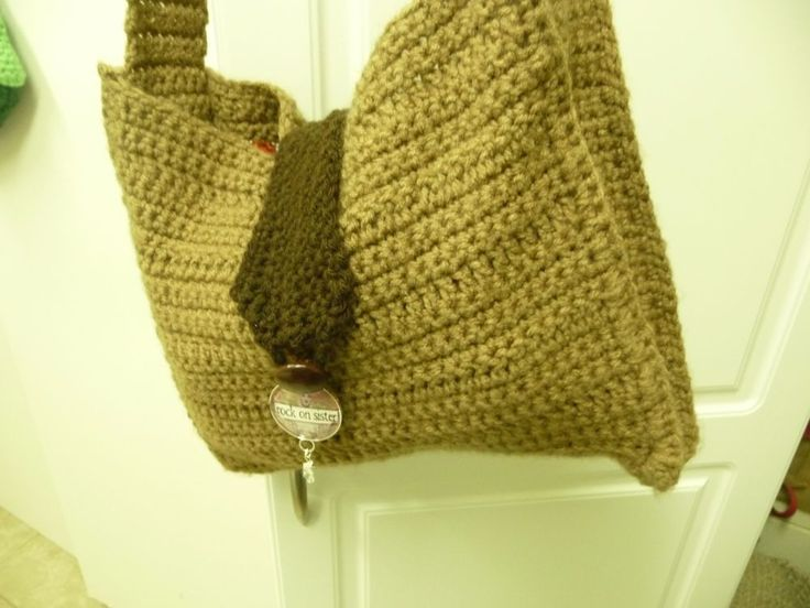 "Crochet Boho Chic Retro Crossbody Bag Satchel Handmade in Browns 10""x12"" #Handmade #Satchel"