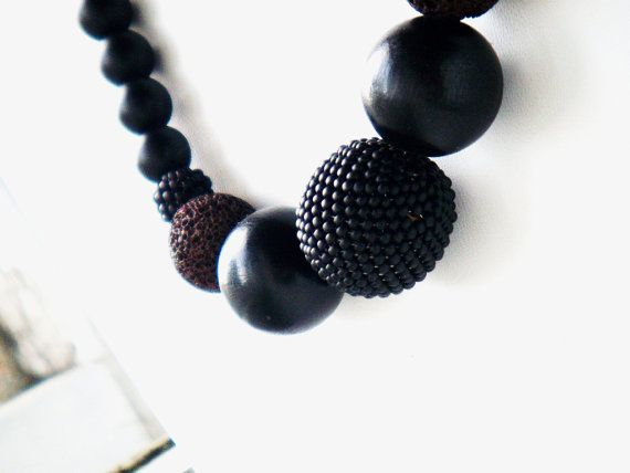 #Lava #statement #necklace wooden beads matte by juditpukkai Use coupon code on Etsy: PIN10 to get 10% discount :-)