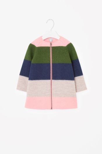 COS Striped wool coat in Green
