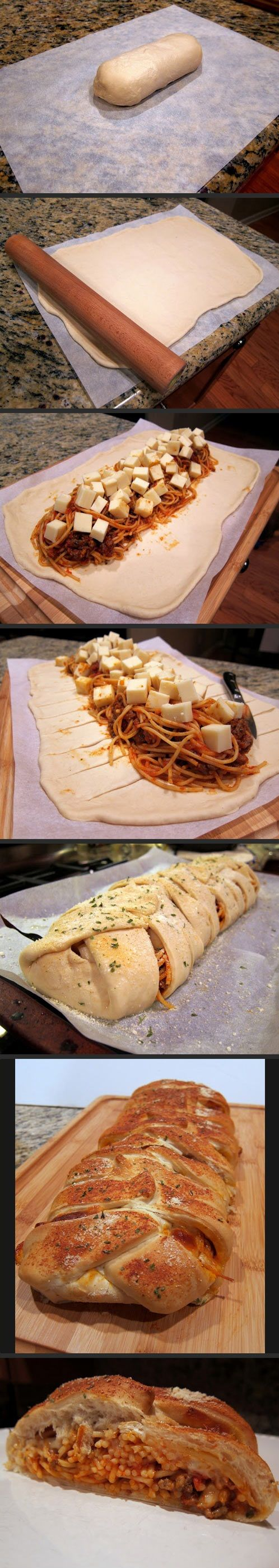 The solution for those who are too lazy to dip bread in spaghetti