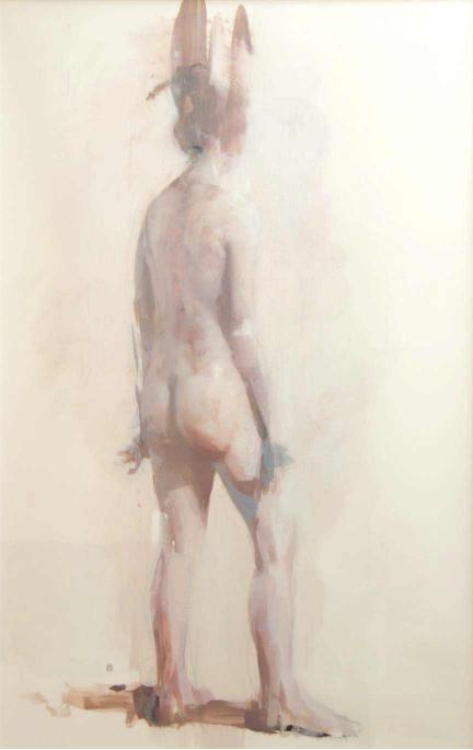 """Alex Kanevsky """"E.O."""" 34"""" x 22"""" oil on mylar mounted on wood"""