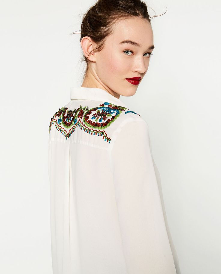 BLOUSE WITH SEQUINNED YOKE-View All-TOPS-WOMAN   ZARA United States