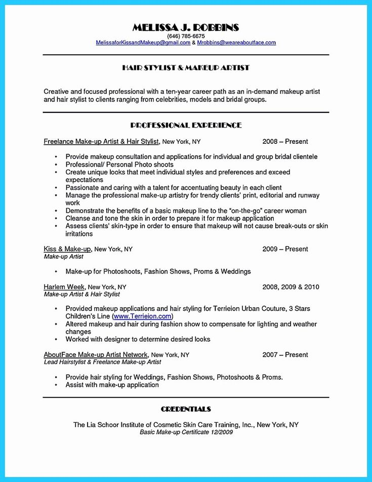 Make Up Artist Resume Elegant Artist Resume Template that