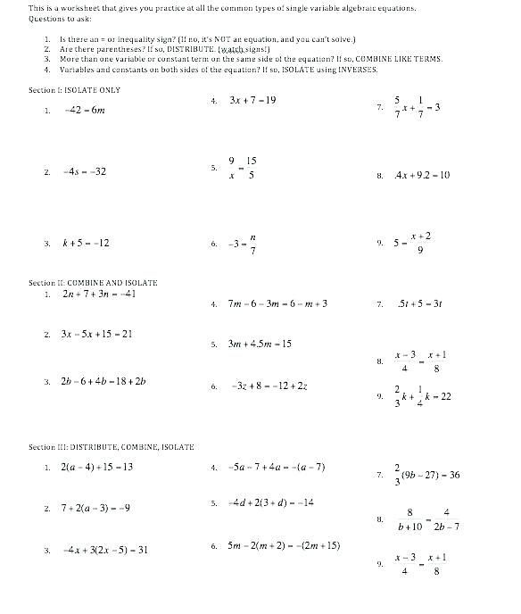 23 Maths Worksheets For Class 7 Simple Equations Grade Expressions And Equations Worksheets S Algebra Worksheets Algebra Equations Teaching Algebra