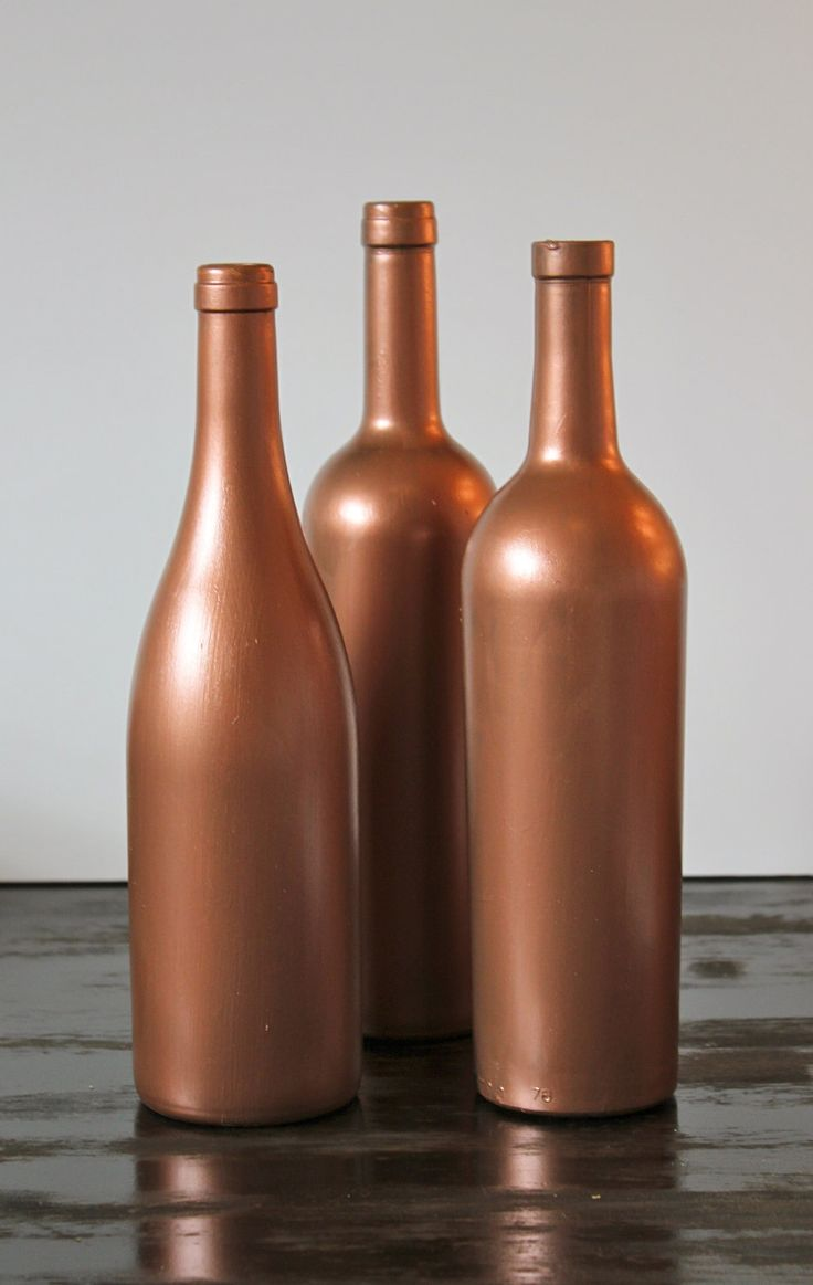 Copper Painted Wine Bottles.