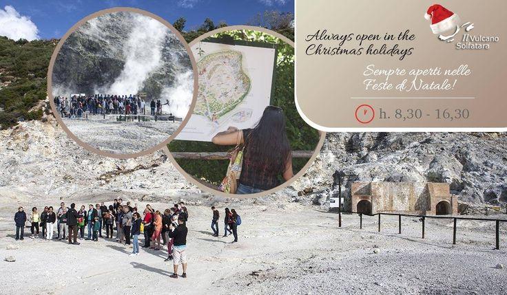 Durante le festività natalizie, il Vulcano Solfatara è sempre aperto e visitabile. Il prossimo 31 Dicembre e il giorno di Capodanno, 1° Gennaio con in programma anche una visita serale guidata alle 20,00, e il giorno dell' Epifania, Mercoledì 6 Gennaio 2016 (il Martedì 5 è in programma una visita serale guidata alle 20,30), dalle 8,30 ad un' ora prima del tramonto, sarà possibile accedere al cratere del millenario Vulcano e compiere una visita, con o senza l' accompagnamento di una guida…