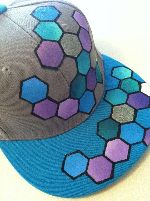 Teal Honeycomb Hat  Urban Geometric Flat Bill Hat by StarSeventeen, $50.00