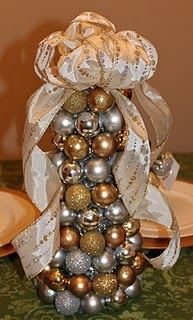 Sooo easy to make! Wrap styrafoam cone with tinsel and hot glue ornaments. Top with a bow:)