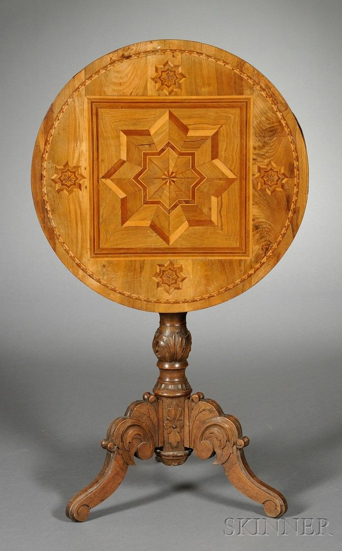 Victorian carved rosewood center table w marble turtle top cottone - Italian Parquetry Inlaid Circular Tilt Top Tripod Table Late 19th Century Inlaid
