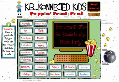 100+ enrichment sites for elementary students who finish early: Finish Early, Elementary Students, Kids I, Classroom Technology, Dr. Who, Learning Center, Enrichment Site, 100, Kb Konnect Kids