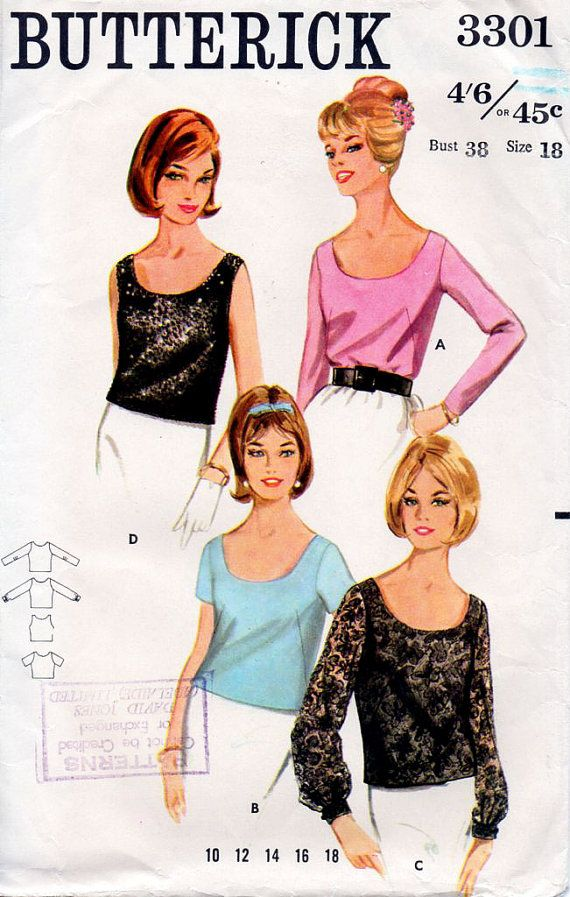 1960s Blouse Scoop Neck Top in Four Styles by BessieAndMaive, $7.50: Retro Patterns, Etsy Patterns, Blouses Patterns, Vintage Sewing Patterns, Style Vintage, Blouse Patterns, Patterns Patter