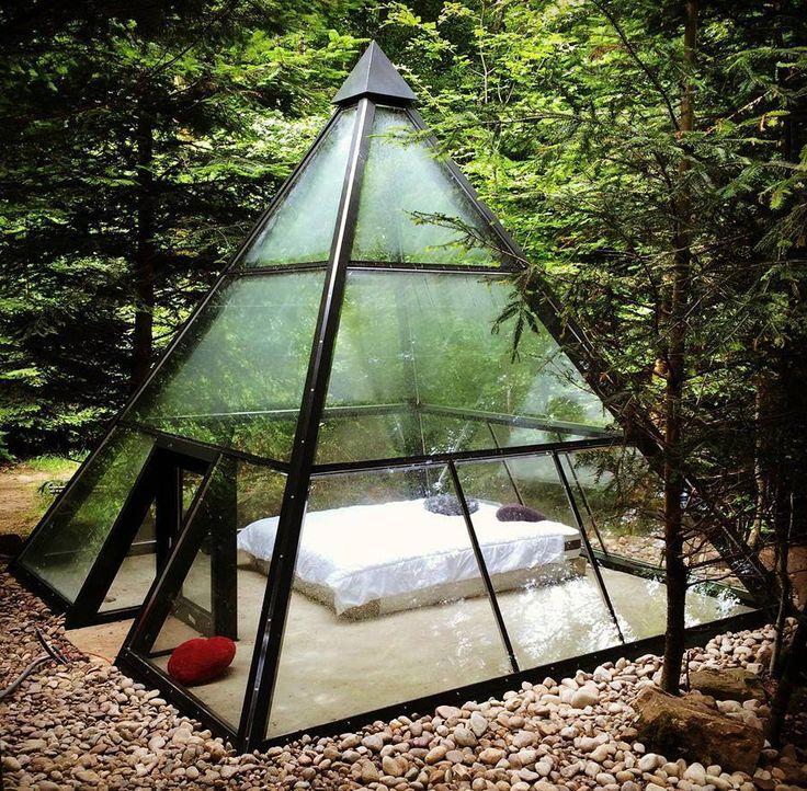 a-frame pyramid glass greenhouse