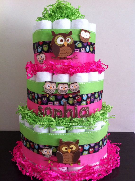 Owl diaper cakes diaper cakes and owl baby showers on for Baby shower diaper decoration