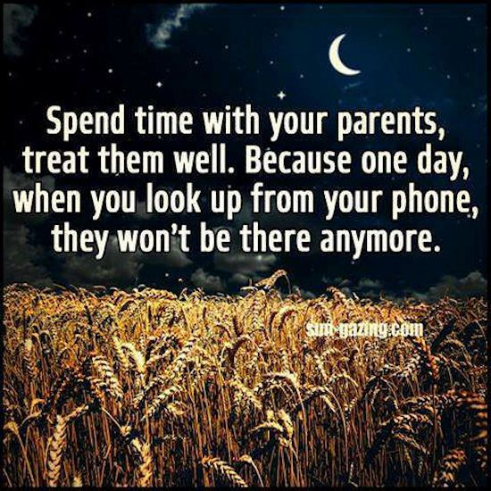 Spend Time With Your Parents Because One Day They Won't Be There life quotes quotes quote kids time parents family quote family quotes