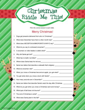 Christmas Riddles - kids Christmas games.