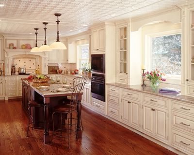 victorian style kitchen with buttercream cabinetry - Modern Victorian Kitchen Design