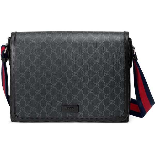 18696a225 A flap messenger bag made in Gucci's iconic GG Supreme canvas in a  black/grey combination. The GG motif is further enriched with a Web strap  and black ...