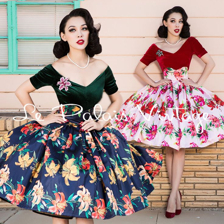 Le Palais Vintage Pin Up Lily Flower Print High Waist Skirt - Designed by Winny…