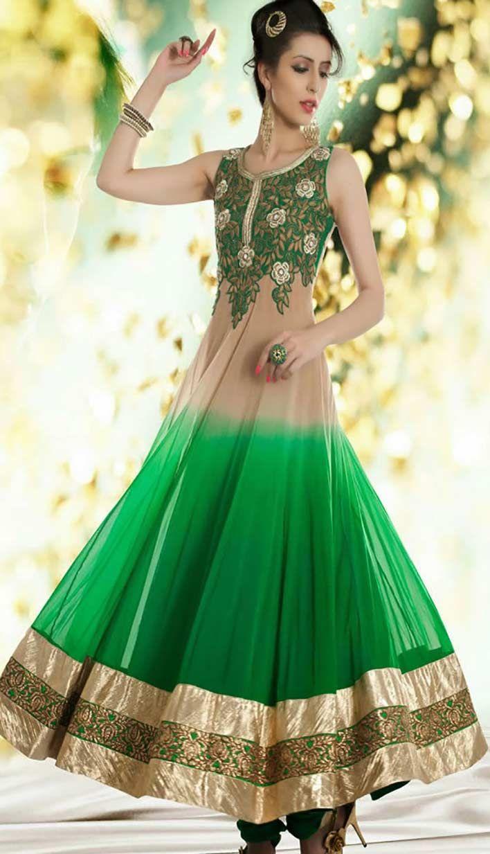 Choose the beautiful ethnic cream and green nett long anarkali