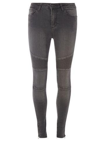 Grey Biker Skinny Jeans