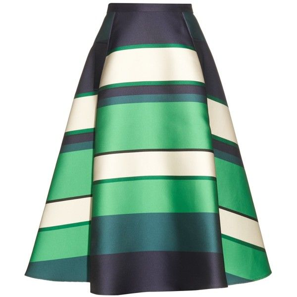 Lanvin Duchesse stripe berlingot A-line skirt ($1,431) ❤ liked on Polyvore featuring skirts, saias, bottoms, green stripe, green skirt, green midi skirt, high waisted knee length skirt, high-waisted midi skirts and mid calf skirts