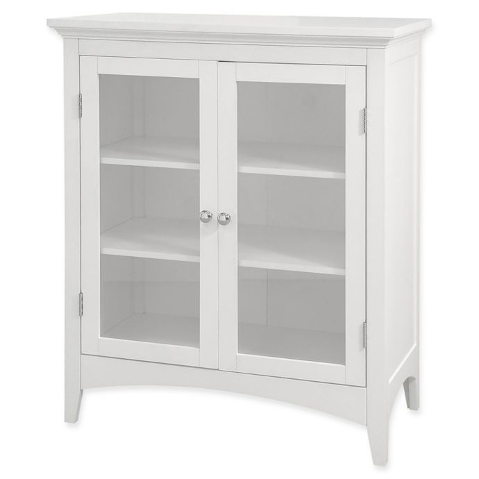 Elegant Home Fashions Olivia 2 Door Floor Cabinet In White Bathroom Floor Cabinets Glass Cabinet Doors Kitchen Cabinet Door Styles